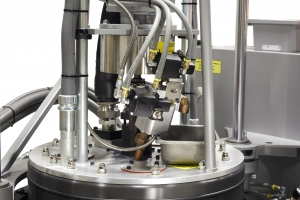 semi-automatic bleed boost option for hot melt drum melter